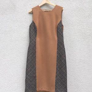J McLaughlin wool dress size 14 tan tweed
